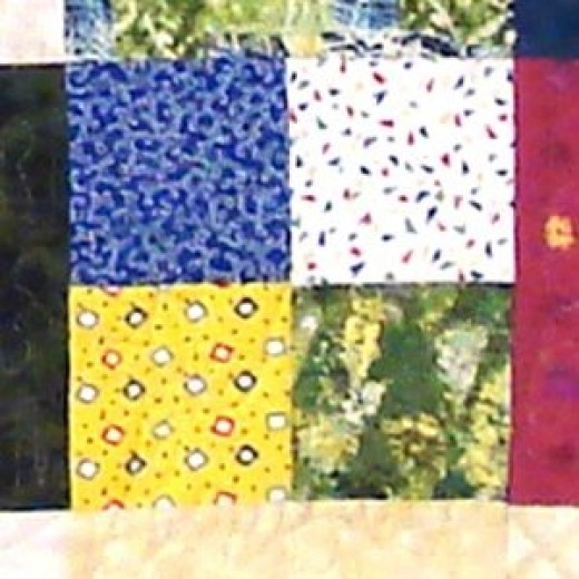 Scrappy (non-matching) 4 Patch block - from the Cancer Council Quilts