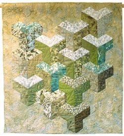 Inner Sanctum quilt by Jan T Urquhart Baillie. Modern 3D take on Inner City