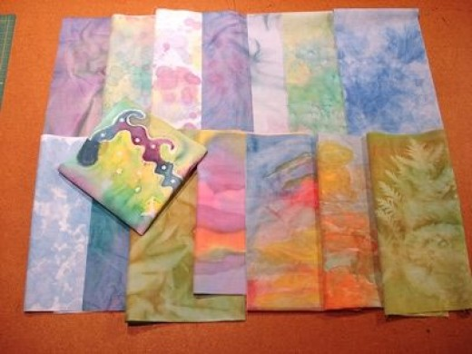 Some hand dyed and painted fabrics we made, after I read Six Color World