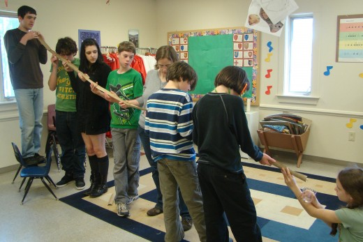 The object was to create a marble run out of paper towel tubes that had been cut in half. Lots of team work and cooperation was necessary to meet this challenge!