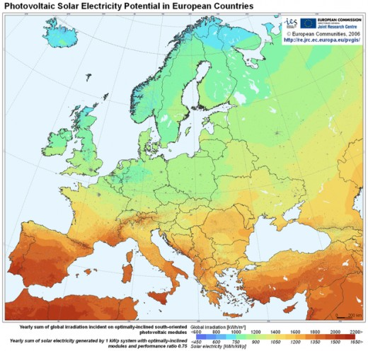 Map of solar electricity potential in Europe © European Communities, 1995-2007; (Reproduction is permitted provided the source is acknowledged)