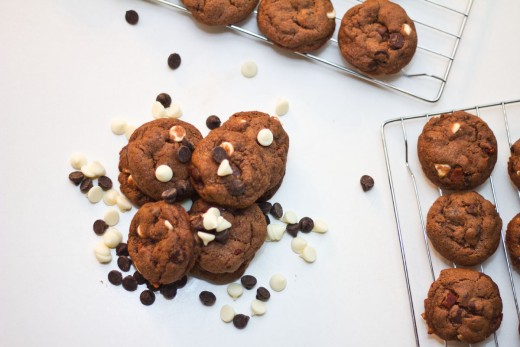 Ready to eat: chocolate chocolate chip bacon bit cookies.
