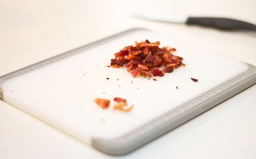 Tear the bacon into little pieces to mix into the cookie dough.