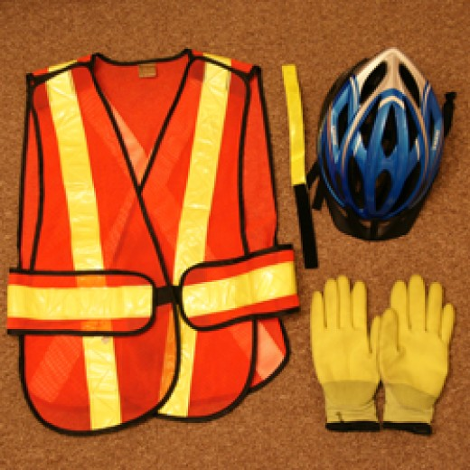Bicycle Helmet, reflective vest, and reflective work gloves!