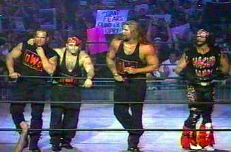Kevin Nash, Macho Man Randy Savage, K Dawg, and Lex Luger members of the NWO Wolfpack