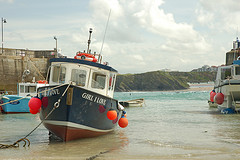Posh Restaurants in Newquay and Newquay Harbour: Fishing Boat in Newquay Harbour, Cornwall.