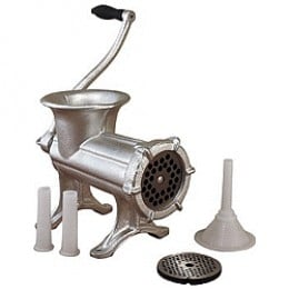 Manual Grinder with included stuffing attachments