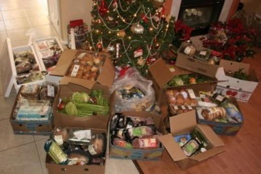 Tons of rescued food under Hannukah bush ready for homeless shelter!