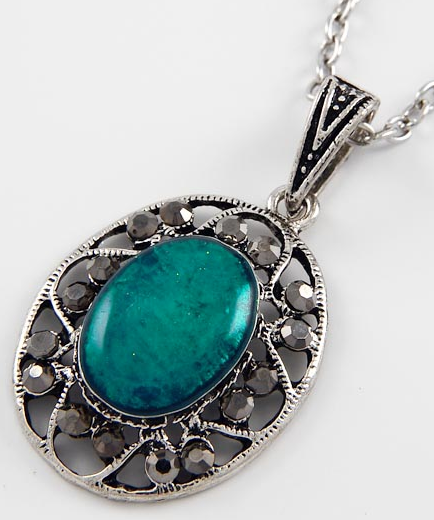 Antiqued Teal Necklace