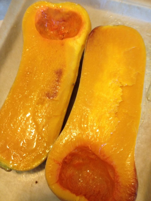 Butternut squash, turned right side up, after steaming and roasting