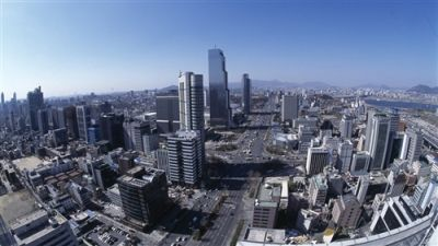The aerial view of Gangnam, an affluent district of Seoul, South Korea.