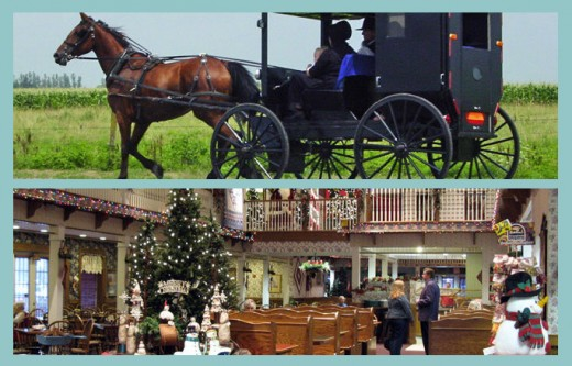 Amish buggy and Miller's Dutch Kitchen