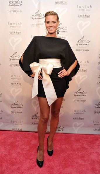 Heidi Klum, famous fashion model wearing Kimono inspired dress.