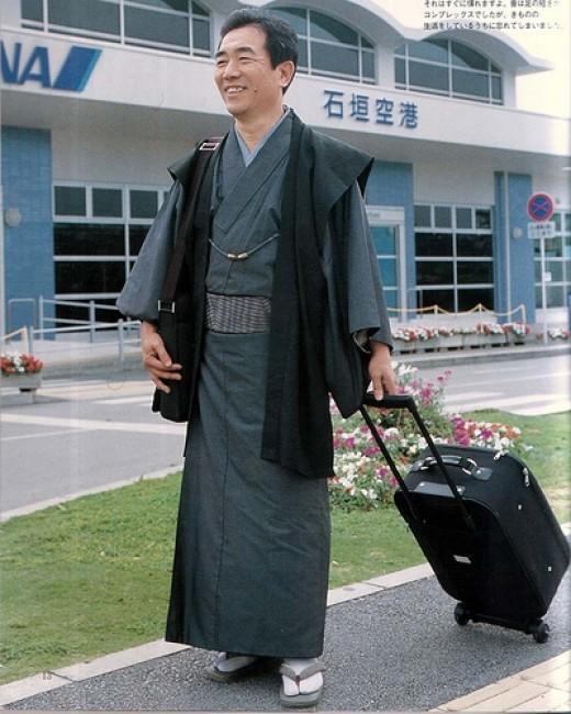 Traveling man in Kimono