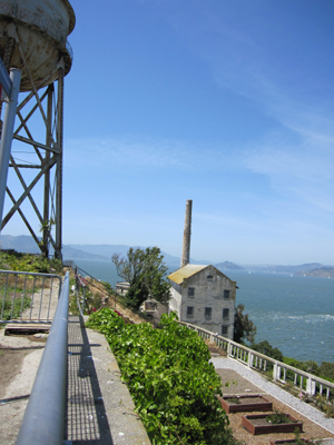 The water tower on the northeast side of the island facing Angel Island and Marin County