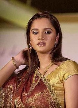Tennis star Sania Mirza with Indian Jewels-observe the nose ring,bangle, long dropped necklace and ear ornaments