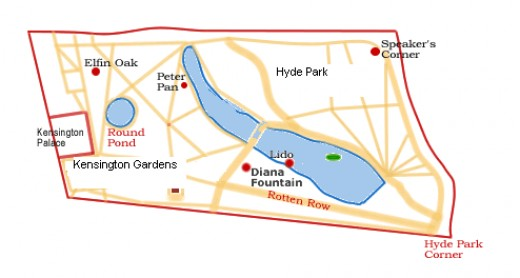 Basic layout map of Hyde Park and Kensington Gardens