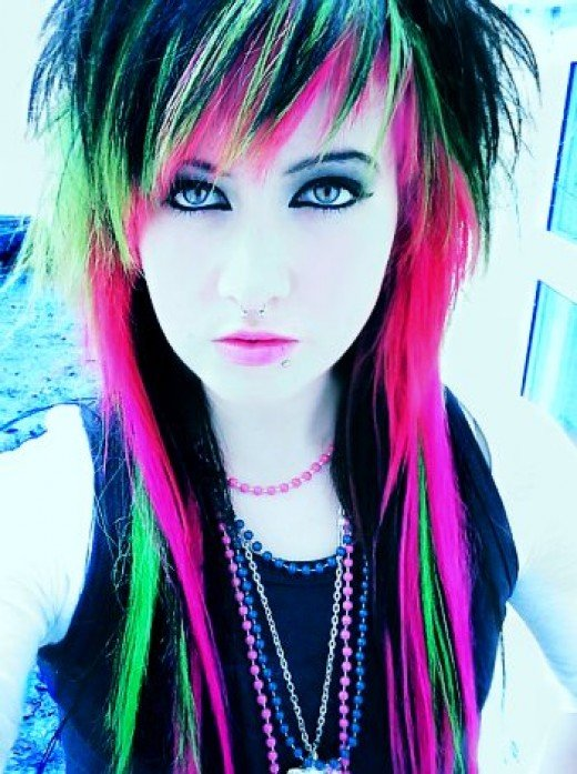 Your rainbow hair extension is now complete. Girl with radical