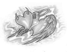 Angel and Devil heart tattoo design