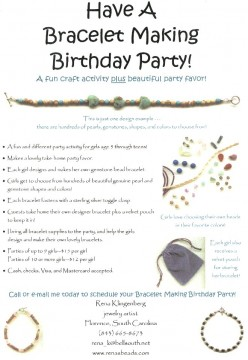 My flyer for bracelet birthday parties