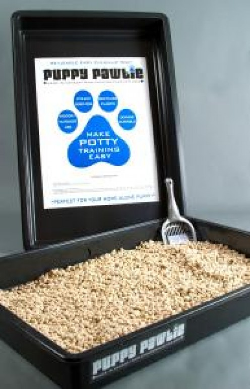 The Puppy Pawtie Litter Box System.