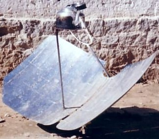 A solar kettle in Tibet, concentrating solar energy in order to heat water