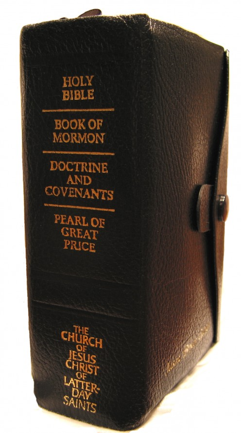 "The Holy Bible, Book of Mormon, Doctrine and Covenants, and Pearl of Great Price combined together in one book known as the ""Quad""."