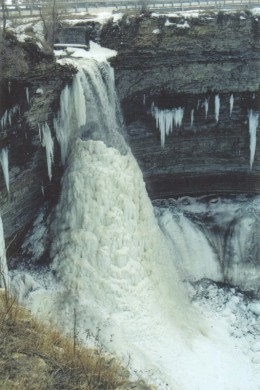 Devil's Punch Bowl in winter with a cone of ice