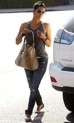 Halle Berry Pythonskin bags