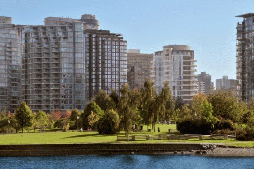 A view of Vancouver from English Bay