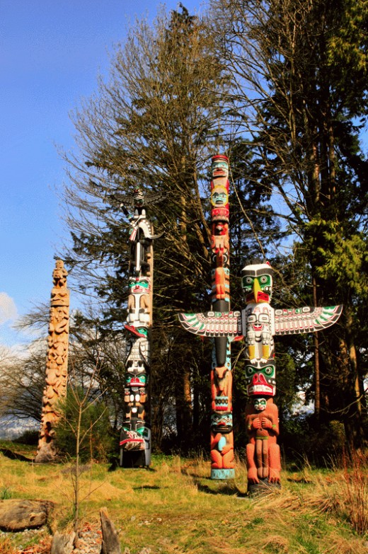 Native Totem Poles are a very interesting feature at Stanley Park