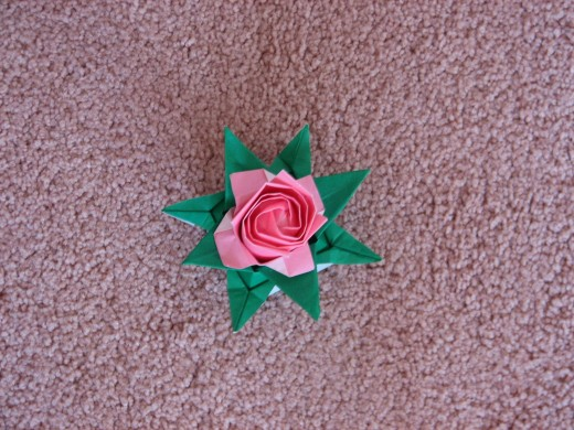 Detachable rose folded by my son.