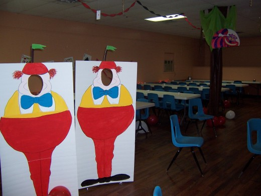 Our cut-outs of Tweedle-Dee and Tweedle-Dum