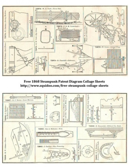 Free Digital Collage Sheet - Steampunk Vintage Inventions - Patent Diagrams