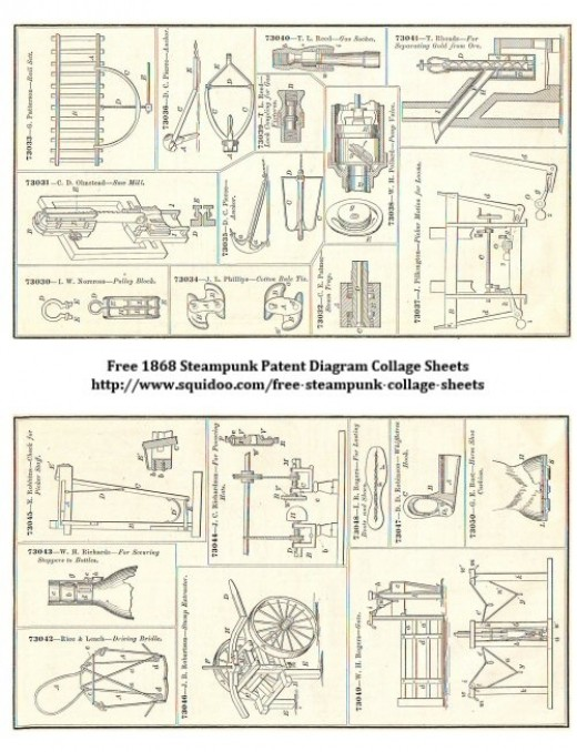 Free Digital Collage Sheet - Steampunk Machinery Illustrations - Patent Diagrams