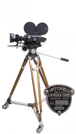 The Mitchell 16mm camera used by Centron in the 50s and 60s, donated to the KS Historical Society by Oldfather Studios, where KU film students had used it.