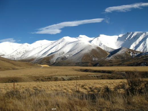 Snow capped peaks, Southern Alps, Canterbury, New Zealand