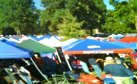 The Grove filled with tents for tailgating.