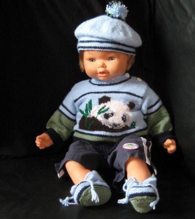 Handknit Panda baby boy set