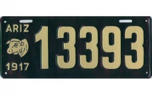 1917 - Arizona:First graphic on a license plate in America
