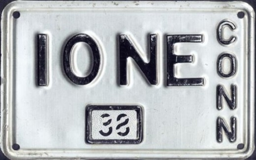 1937 - Connecticut:First state to offer vanity plates(Image: Connecticut 1938 vanity plate)