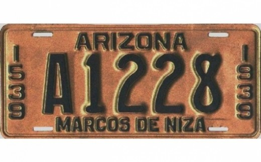 1939 - Arizona:First person ever honored on any license plate in  America:  Marcos de Niza