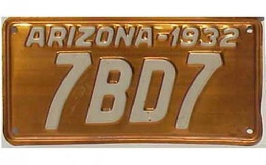 1932 - ArizonaOnly state that produced copper license plates