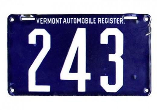 1905 - Vermont - $15,000Baked enamel over steel - deep cobalt blue background