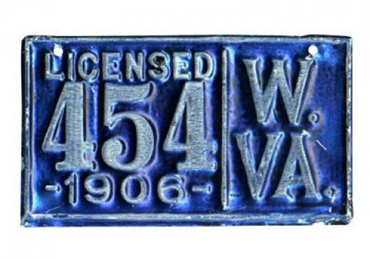 1906 - West Virginia - $25,000Made of a particularly thin aluminum, much less durable than other plates