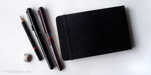 Mini sketching kit - sketchbook, pencil, brush pen and fineliner