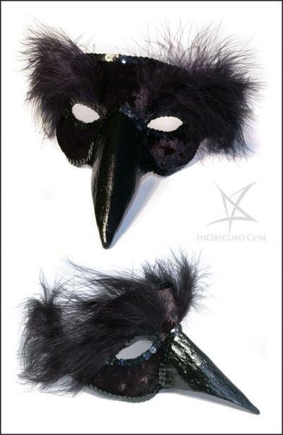 Black bird venetian plaster mask