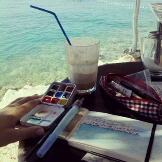 My sketching kit in action during my vacation