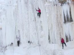 Ice climbers at Tiffany Falls