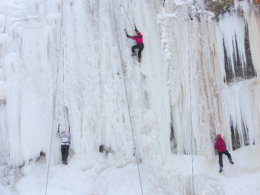 Ice climbers at Tiffany Falls